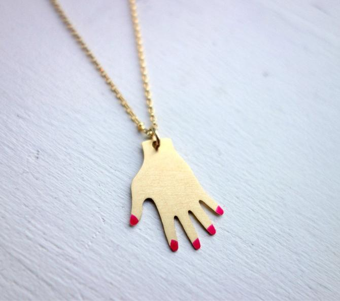 "Manicured Hand Necklace - Gold Hand Necklace with Red Painted Nails on 18"" Gold-Filled Chain by RachelPfefferDesigns"