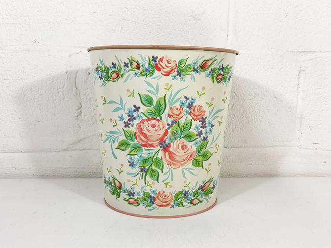 Vintage Rose Trash Can Metal Basket Waste 1950s 50s Tin Litho Cheinco MCM Paper Flowers Floral Made in USA Boho Indie Romantic Bohemian by CheckEngineVintage