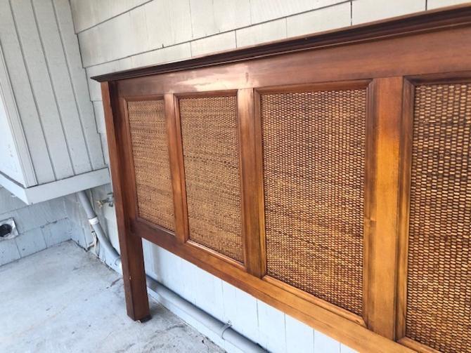 Midcentury Style King Cane Wood Headboard