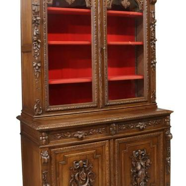 Antique Bookcase, French Henri II Style Carved Oak Stepback, Display,1800's!!