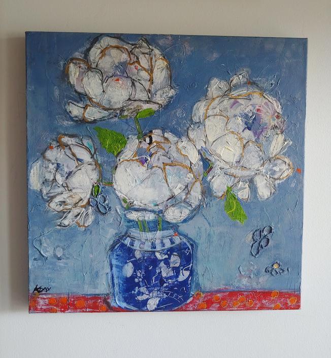 Original Kellie Day Painting 'Peonies in a Vase' by ModandOzzie