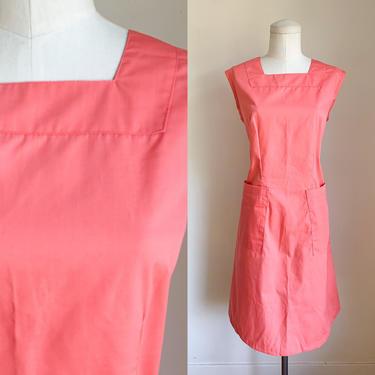 Vintage 1970s Coral Pink Nurse Uniform Pinafore / M by MsTips