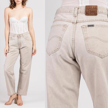 Vintage Lee Riders Jeans - Medium | 90s Beige Tapered Leg High Waist Denim Mom Pants by FlyingAppleVintage