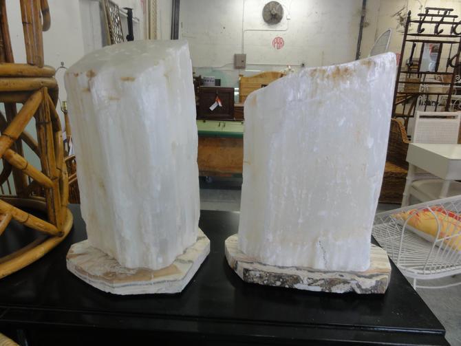 Pair of Selenite Gemstone Lamps