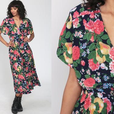Floral Wrap Dress Lanz Originals Dress 80s Boho FRUIT Print Midi Dolman Sleeve 70s Deep V Neck Bohemian Vintage High Waist Small Medium by ShopExile