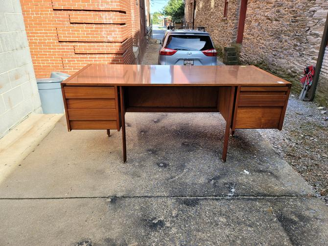 Mid-century Modern Walnut Desk with Laminate Top and Caning