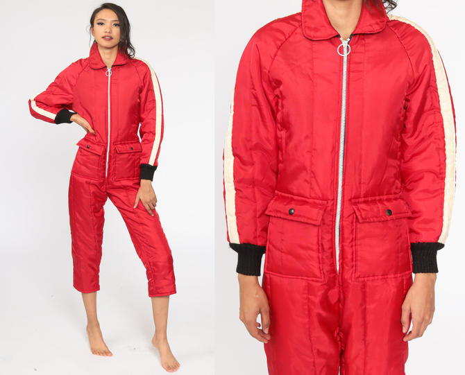 70s Ski Suit Red One Piece Snowsuit Puffy Retro Snow Suit Puffer Coat Pants 1970s Retro Puff Winter Seventies Snow Wear Extra Small xs by ShopExile