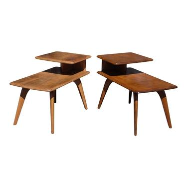Vintage Mid Century Modern Pair Heywood Wakefield Birch Step End Tables