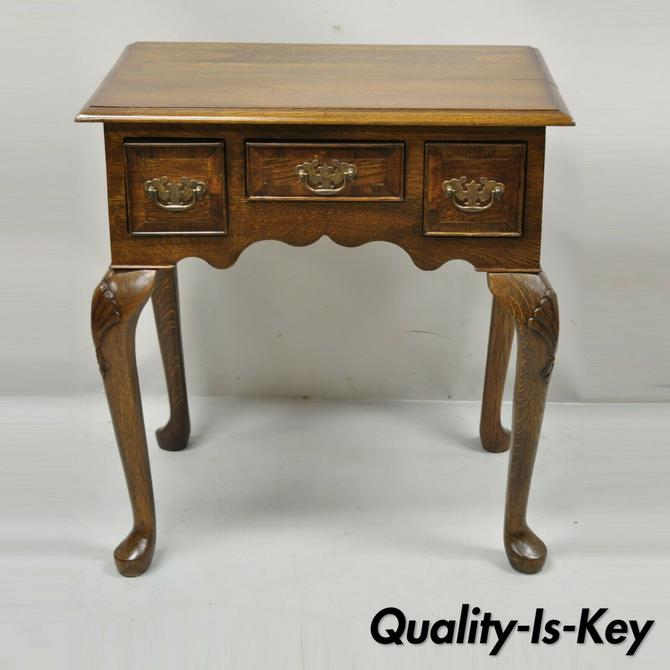 Vintage English Queen Anne Style 3 Drawer Small Oak Wood Lowboy Side Table Chest