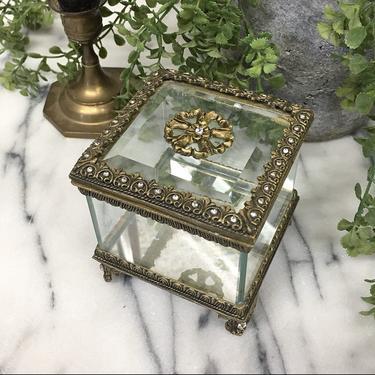 Vintage Trinket Box Retro 1980s Jewelry Holder + Keepsake Box + Beveled Glass + Filigree Design + Mirrored + Bathroom and Vanity Decor by RetrospectVintage215