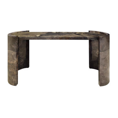 Karl Springer Console Table In Dark Brown Lacquered Goat Skin 1980