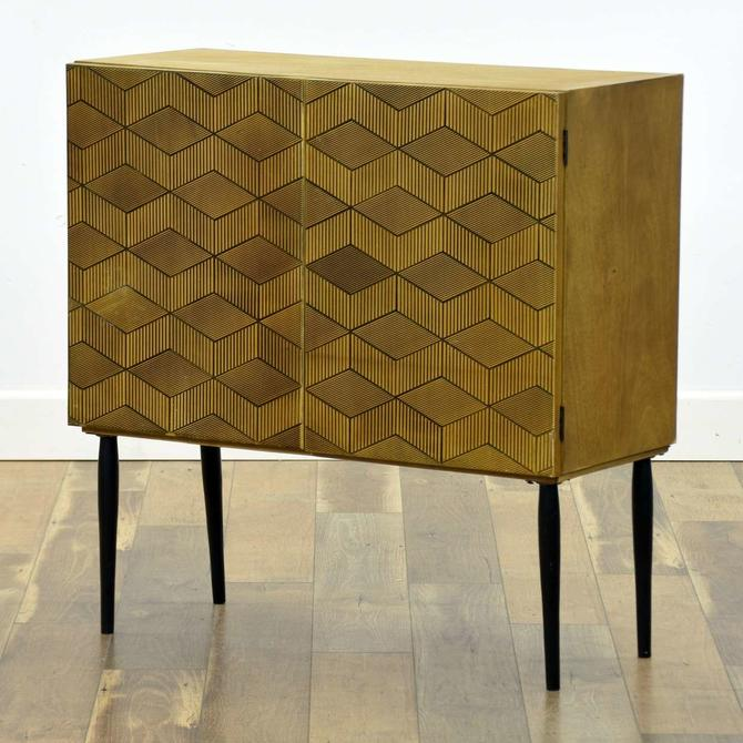 Mid Century Modern Step Design Cabinet W Tapered Legs