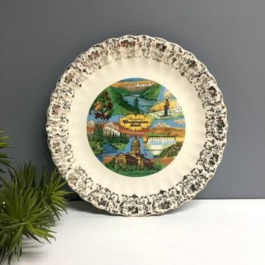 Washington state souvenir state plate - vintage road trip decorative wall plate by NextStageVintage