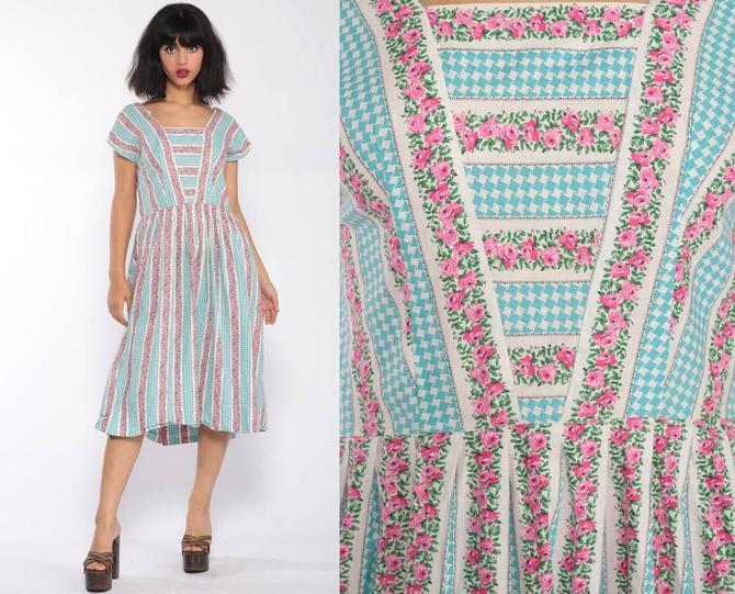 4dab274551 50s Day Dress Tea Length Mad Men Dress Midi Cotton Floral Print Short  Sleeve 1950s High