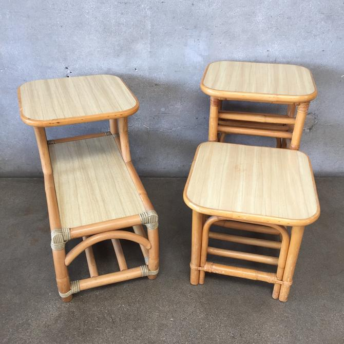 1950's Bamboo Formica Side Tables - Pair