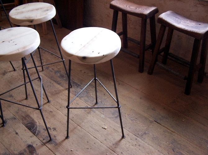 FREE SHIPPING - Factory Style Reclaimed Wood Bar Stools with smooth Metal Legs by BarnWoodFurniture