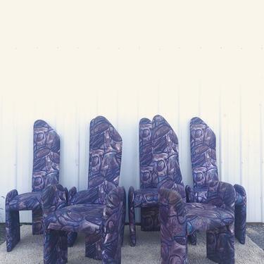 Italian Modern Set 6 High Back Dining Chairs