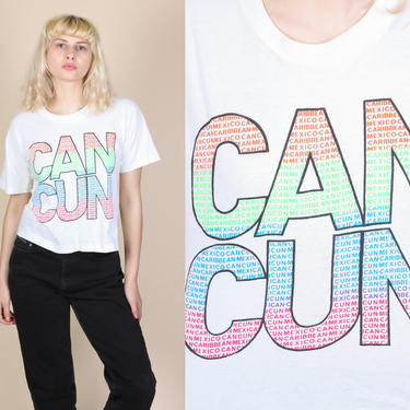 Vintage Cancun T Shirt   80s Mexico Cropped Graphic Travel Tee by FlyingAppleVintage