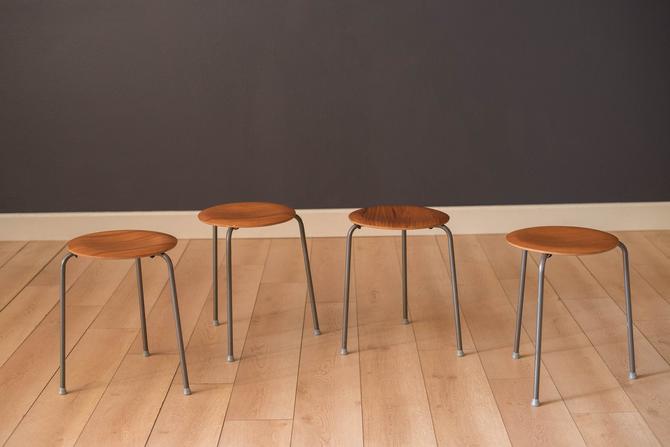 Set of Four Vintage Danish Teak Round Stacking Stools by MidcenturyMaddist