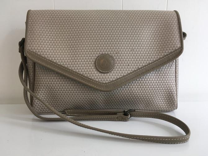 Vintage Liz Claiborne Crossbody Purse 1983 Genuine Leather Trim Envelope Bag Adjustable Strap Structured Handbag Gray Tan Korea 1980s by CheckEngineVintage