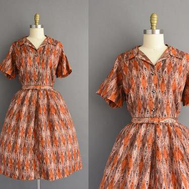 1950s vintage dress | Mode O Day Harlequin Print Short Sleeve Full Skirt Shirt Dress | XXL Plus Size | 50s dress by simplicityisbliss