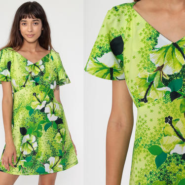 70s Babydoll Dress Green Tropical Floral Dress Hawaiian Summer Mini Bohemian Empire Waist Flutter Sleeve 1970s Vintage Boho MiniDress Medium by ShopExile