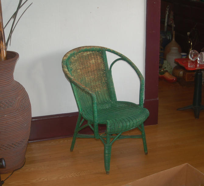 Antique French Rattan Wicker Unusual Half Hoop / Horseshoe Shoulder Chair w/ Green Patina / Paint Remnants ~ Beautiful, Sturdy, Strong ~ VG by YesterdayAndTomorrow