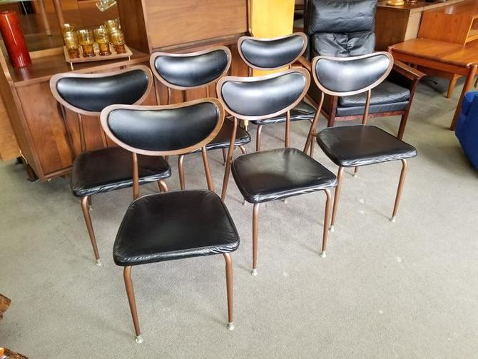 Set of six Mid-Century Modern wood and metal dining chairs