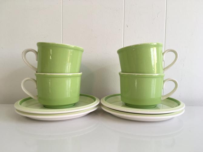 Vintage Mikasa Cup and Saucer Set of Four (4) Needlecraft Country Store Coffee Mug Floyd Jones Retro Kitsch Kitchen Japan Lime Green Tea by CheckEngineVintage