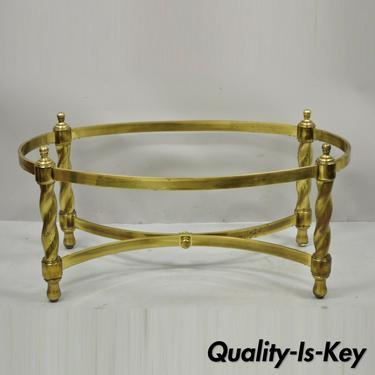 Vintage Brass Hollywood Regency Spiral Twist Oval Coffee Table Base Mastercraft