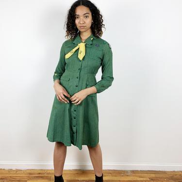 Vintage 1940s Girl Scout Uniform | Vintage 40s Sage Green Chambray Cotton Button Up Dress w/ Sash | Medium by ErraticStaticVintage