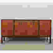 Mid Century Modern Walnut Dresser / Credenza w/ Metal Pulls
