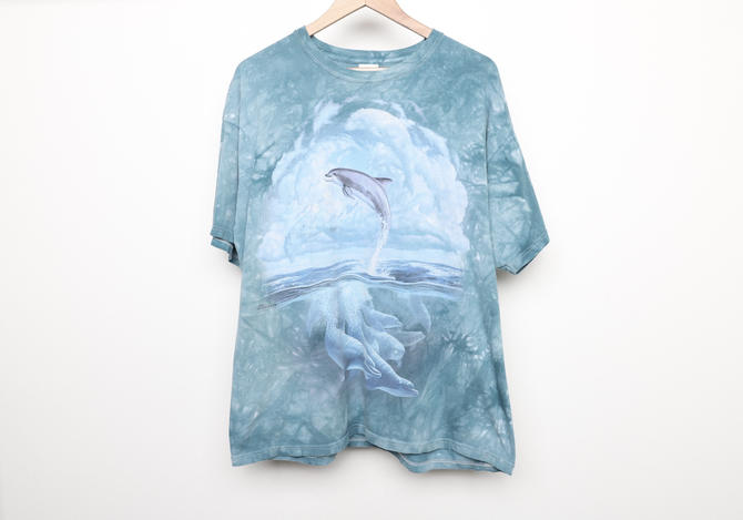 vintage 1990s tie dye FROLICKING DOLPHINS men's oversize aqua blue short sleeve t-shirt top -- size xl by CairoVintage