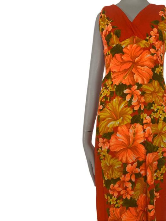 Rare BARK Cloth dress made in Hawaii 70's Vintage Bark Cloth Hawaiian dress, yellow orange green floral print authentic Hawaiian Dres by RETROSPECTNYC