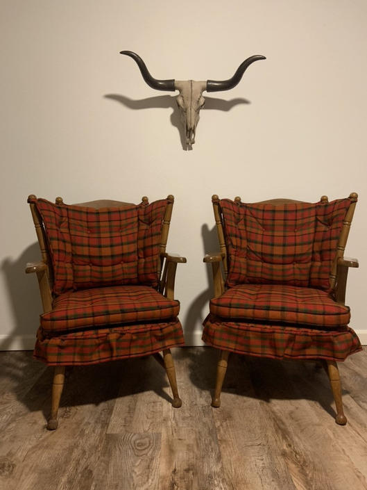 Set of 2 Mid Century 1950s Wingback Western Cabin Style Arm Chairs by DesertCactusVintage