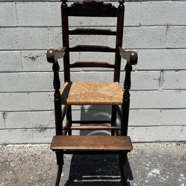 Antique Rustic High Chair Primitive Children Kids Furniture Shabby Chic Farmhouse Chair Seating Desk Chair Midcentury Retro Wood Rustic by DejaVuDecors