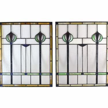 Pair Antique Art Nouveau Art Deco Stained Glass Windows Vertical Scepters Stylized Flowers by PrairielandArt