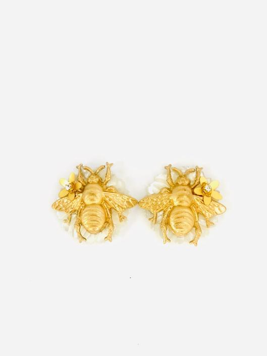The Pink Reef Bee and Hand Carved Pearl Stud