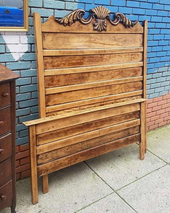 Early 20th Century High Headboard Full Size Bed,