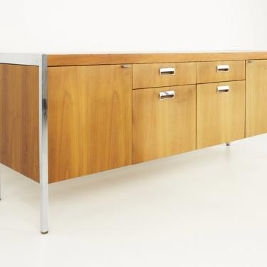 Knoll Style Mid Century Walnut and Chrome Office Sideboard Credenza - mcm by ModernHill