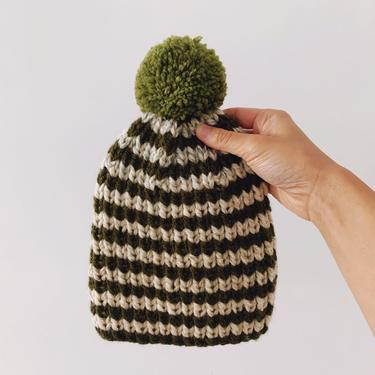 Little Minnows Hand Knit Baby Beanie Hat // Forest Green Stripe with Pompom by mammothandminnow