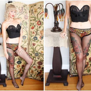 1950s Bustier // Black Strapless Bustier // vintage 50s lingerie by dethrosevintage