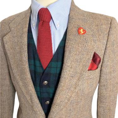 Vintage 100% WOOL TWEED Wool Blazer ~ 36 S ~ Herringbone ~ jacket / sport coat ~ Preppy / Ivy League / Trad ~ by SparrowsAndWolves