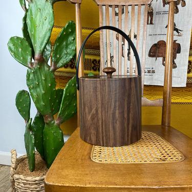 Vintage Mid Century Faux Wood Grain Ice Bucket by DesertCactusVintage