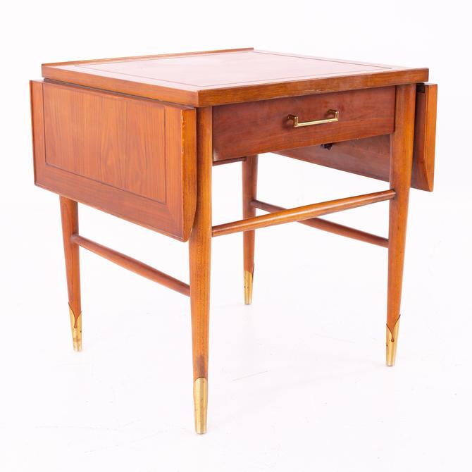 Lane Copenhagen Mid Century Walnut and Brass Drop Leaf Side End Table by ModernHill