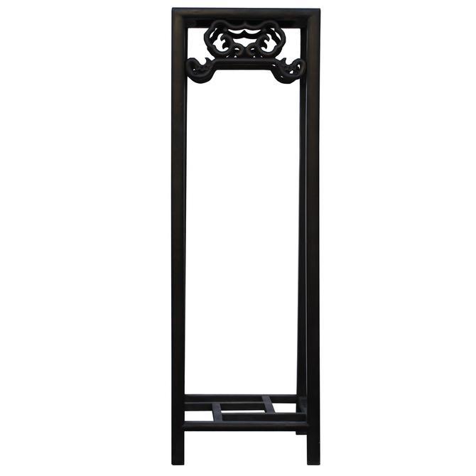 Chinese Huali Dark Brown Square Ru Yi Pattern Stand Pedestal Table cs4637S