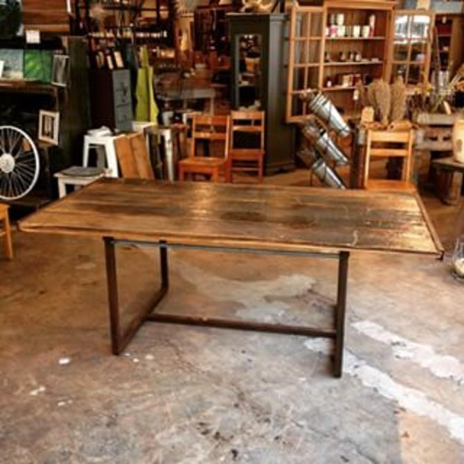 """Distressed Wood Dining Table. Available at Trohv DC. $1350. 42""""D x 30""""H x 80""""L. #localartist #reclaimed #vintage"""