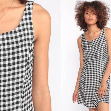 Black Gingham Dress 90s Mini Dress Grunge Dress Checkered Print White 1990s Shift Sleeveless Plaid Vintage MiniDress Small by ShopExile