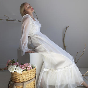 70s white prairie chiffon wedding dress / sz XS S by EELT