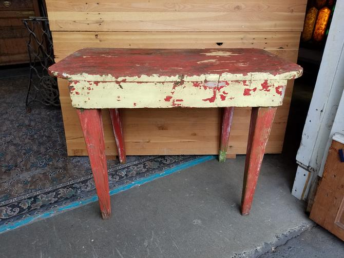 Funky Chipped Paint Occasional Table H24.75 x W34 x D20.25